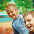 Portrait from photo sample #38 Two Brothers with background changed to seascape